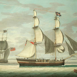 A brig and other shipping in the Solway Firth - Henry Collins
