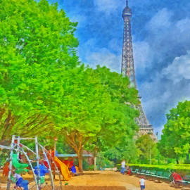 A Champ de Mars Playground near the Eiffel Tower by Digital Photographic Arts