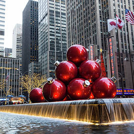 A Christmas Card from New York City - Giant Red Balls Pyramid and Radio City Music Hall