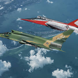 A Conceptual operational U.S. Air Force F-107D with a Prototype F-107A by Erik Simonsen