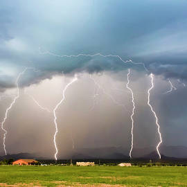 Four Lightning Bolts in the Mountains, Palominas, Arizona by Derrick Neill