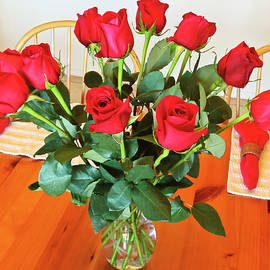 A Dozen Red Roses in a Crystal Vase by Derrick Neill