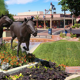 A Horse Sculpture and Old Town Boutiques, Scottsdale, Arizona by Derrick Neill