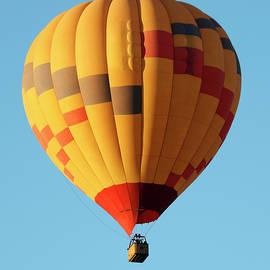 A Hot Air Balloon Soars in a Blue Sky by Derrick Neill