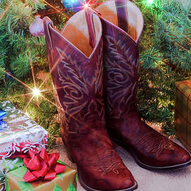 A Pair of Red Christmas Cowboy Boots by Derrick Neill