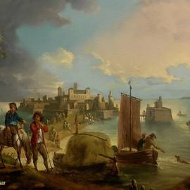 A Port Scene Circa 1750 - After the Style Manner And Painting Of An Anonymous Old Master L A S by Gert J Rheeders