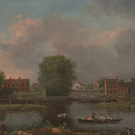 A River Landscape, possibly a View from the West End of Rochester Bridge - John Inigo Richards
