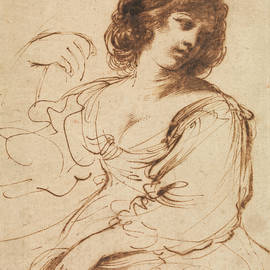 Guercino - A Seated Young Woman Looking Over Her Shoulder
