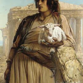 Elisabeth Maria Anna Jerichau Baumann - A Shepherd Boy standing before the Parthenon