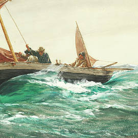 Charles Napier Hemy RA - A Squall - Lower Away