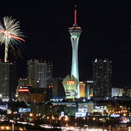 A Stratosphere Fireworks View from McCarran International Airpor by Derrick Neill