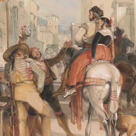 A Street Scene in Granada on the Day of the Bullfight - John Frederick Lewis