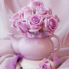 Sandra Foster - A Tea Pot Of Lavender Pink Roses