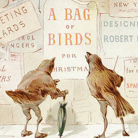 A Victorian Christmas card of two birds looking at a poster of A bag of birds for Christmas - English School