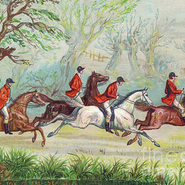 Ernest Henry Griset - A Victorian greeting card of fox hunters racing by while the fox hides in a tree