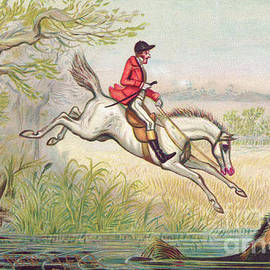 A Victorian New Year card of a fox hunt with a huntsman and his horse falling in the river - Ernest Henry Griset