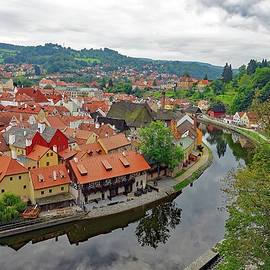 A View Of Cesky Krumlov And The Vltava River In The Czech Republic by Rick Rosenshein