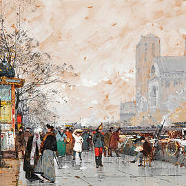 Eugene Galien-Laloue - A view of Notre-Dame cathedral