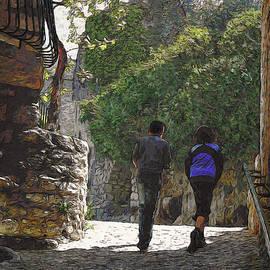 Dominique Amendola - A Walk In A Village In Provence Van Gogh Style