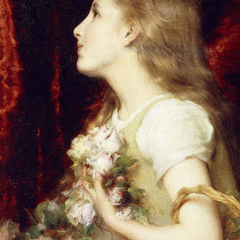 A Young Girl with a Basket of Flowers - Etienne Adolphe Piot