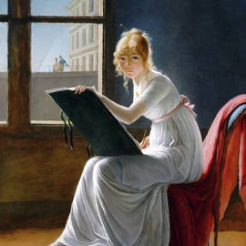 A Young Woman Drawing  by Isabella Howard
