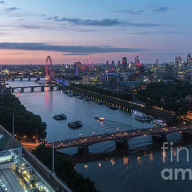 Above London Along the Thames at Dusk - Mike Reid
