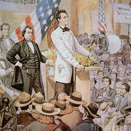 Abraham Lincoln in public debate with Stephen A Douglas in Illinois, 1858  - American School