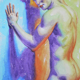 Hongtao Huang - Abrstract watercolor painting male nude #17-1-3