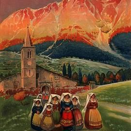 Studio Grafiikka - Abruzzo, Italy - Church, Mountains - Retro travel Poster - Vintage Poster