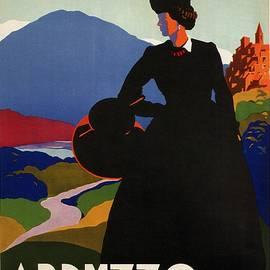 Studio Grafiikka - Abruzzo, Italy - Girl in Black Gown - Retro travel Poster - Vintage Poster
