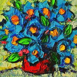 Abstract Blue Poppies In Red Vase Modern Original Palette Knife Oil Painting By Ana Maria Edulescu by Ana Maria Edulescu