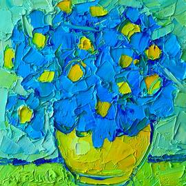 Ana Maria Edulescu - Abstract Blue Poppies In Yellow Vase - Original Palette Knife Oil Painting