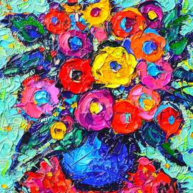 Ana Maria Edulescu - Abstract Colorful Wild Roses Modern Impressionist Palette Knife Oil Painting By Ana Maria Edulescu