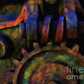 Amy Cicconi - Abstract digital oil painting of large gears full of texture and