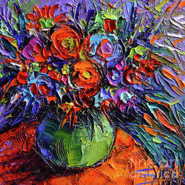 Mona Edulesco - Abstract Floral on Orange Table - Impasto Palette Knife Oil Painting