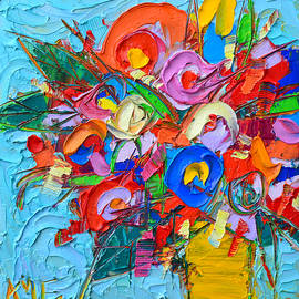 Ana Maria Edulescu - Abstract Flowers Floral Miniature Modern Impressionist Palette Knife Oil Painting Ana Maria Edulescu