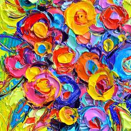 Ana Maria Edulescu - ABSTRACT FLOWERS OF HAPPINESS modern textural impressionist impasto knife oil by Ana Maria Edulescu