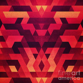 Philipp Rietz - Abstract  geometric triangle texture pattern design in diabolic future red