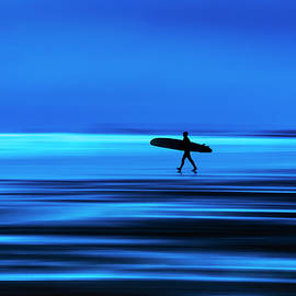 Maggie McCall - Abstract Lone Windsurfer, Widemouth, Cornwall.