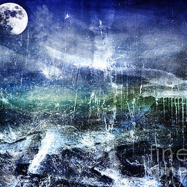 Ricardos Creations - Abstract Moonlit Seascape Painting 36a