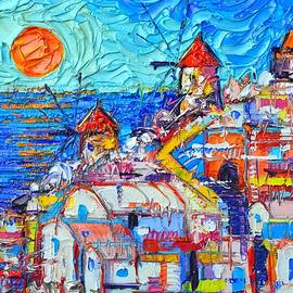 Ana Maria Edulescu - ABSTRACT OIA SUNSET SANTORINI impressionist impasto palette knife oil painting by Ana Maria Edulescu