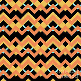 Pablo Franchi - Abstract orange, black and cyan pattern for home decoration