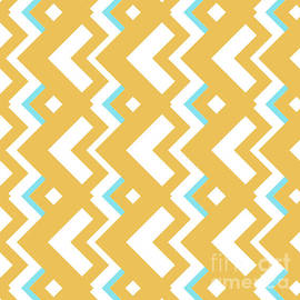Pablo Franchi - Abstract orange, white and cyan pattern for home decoration