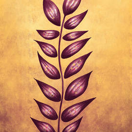 Boriana Giormova - Abstract Plant With Pointy Leaves In Purple And Yellow