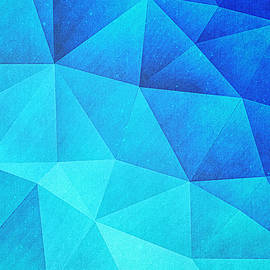 Philipp Rietz - Abstract Polygon Multi Color Cubizm Painting in ice blue