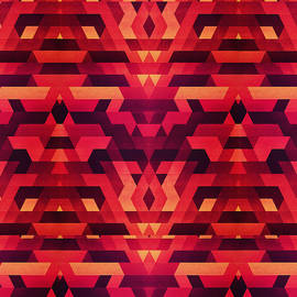 Philipp Rietz - Abstract red geometric triangle texture pattern design Digital Futrure  Hipster  Fashion