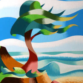 Mark Webster - Abstract Rough Futurist Cypress Tree