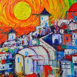 Ana Maria Edulescu - ABSTRACT SANTORINI OIA SUNSET 4 impasto cityscape palette knife oil painting by Ana Maria Edulescu