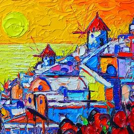 Ana Maria Edulescu - ABSTRACT SANTORINI OIA SUNSET 8 cityscape impasto palette knife oil painting by Ana Maria Edulescu