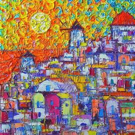 Ana Maria Edulescu - ABSTRACT SANTORINI OIA SUNSET FLORAL SKY impressionist palette knife painting  Ana Maria Edulescu